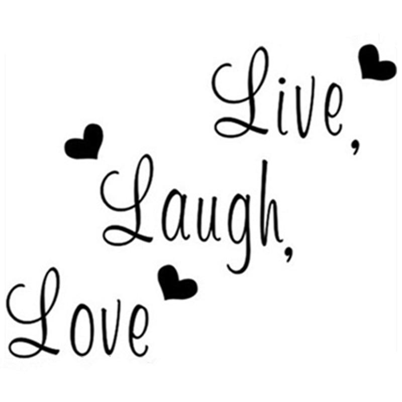 Hidup Laugh Love quotes dinding decals stiker vinyl dekorasi rumah ruang tamu kamar tidur removable hitam