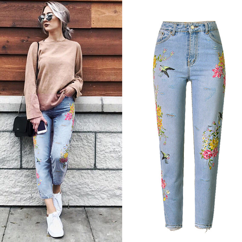 Brand Designer Straight Women Jeans 3D Embroidery Flower Bird Pattern Women Denim Pants American Apparel Jeans For Women S693 электрический чайник scarlett sc ek14e04