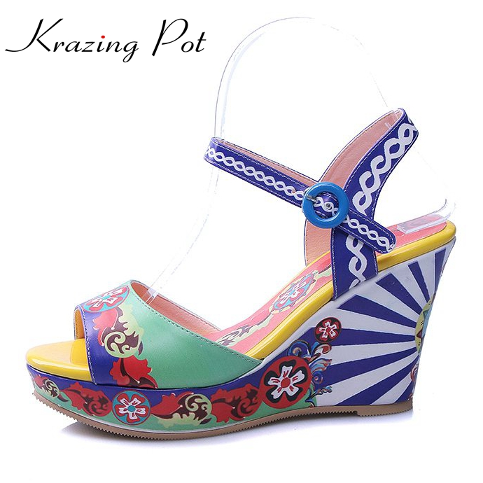 2017 Krazing Pot fashion mixed colorful stamps flowers women brand buckle straps Chinese style summer sandals women luxury L27 fashion mixed colors print luxury flowers superstar women brand buckle straps platform wedges chinese style summer sandals l27
