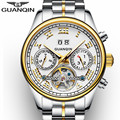 GUANQIN Homens Relógios Marca De Luxo Relógio Moda Luminosa Relógio Mecânico Automático Tourbillon horas relógio de Pulso de Aço Inoxidável