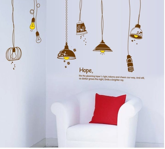 6090cm removable art vinyl wall stickers decor mural decal cartoon lamps and lanterns living