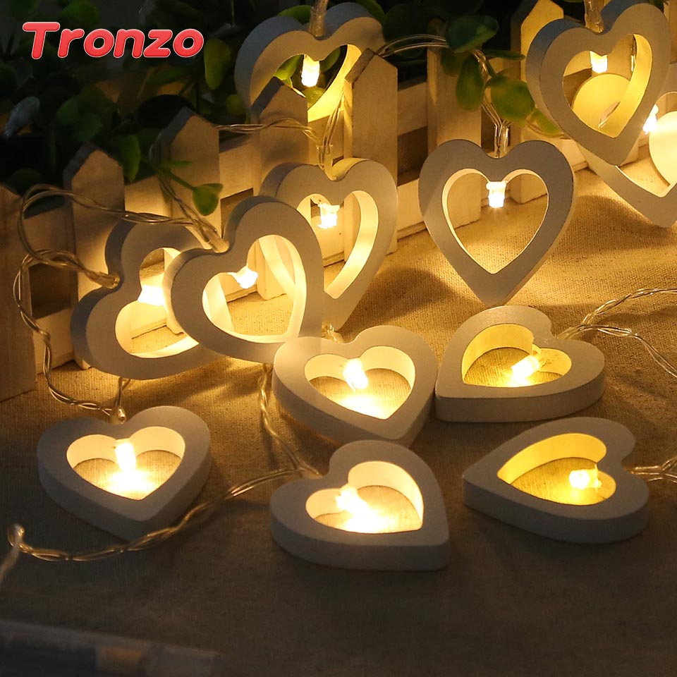 Tronzo 10Lights String Fairy Lights Wedding Decorations White Color Wooden Heart Light V ...