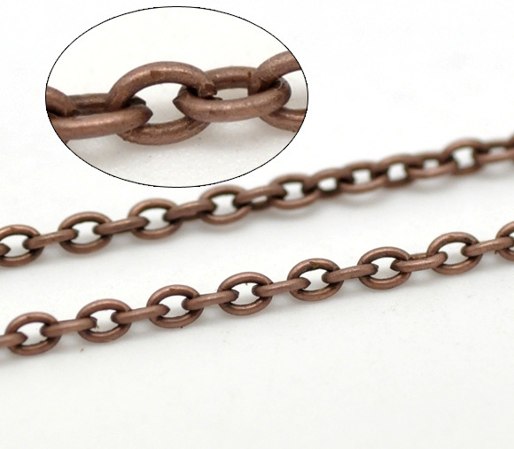 Liens de ton cuivre-chaînes de câble ouvertes résultats 3x2mm, vendu par paquet de 3M nouveau