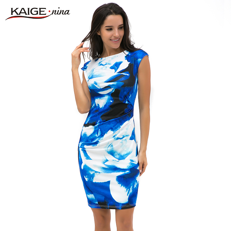 New Printed Bodycon Dress Women Summer Dresses Kaige.Nina Brand Plus Size Women Dress Sexy Dresses 9021