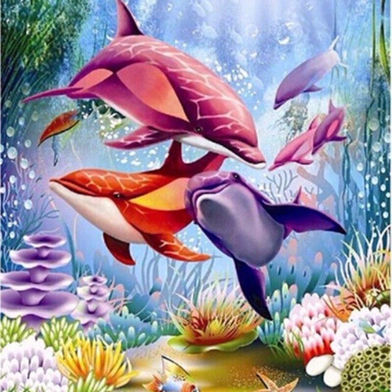 5D Diy Daimond Живопись Дельфин 3D Алмаз Мозаика картина вышивка крестом вышивка крестом Круглый горный хрусталь Диамант Вышивка животное