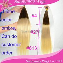 10″-26″ In stock!stick tip hair/ I tip hair extension 3 tone ombre color 1g*100strands 100% virgin brazilian hair extension