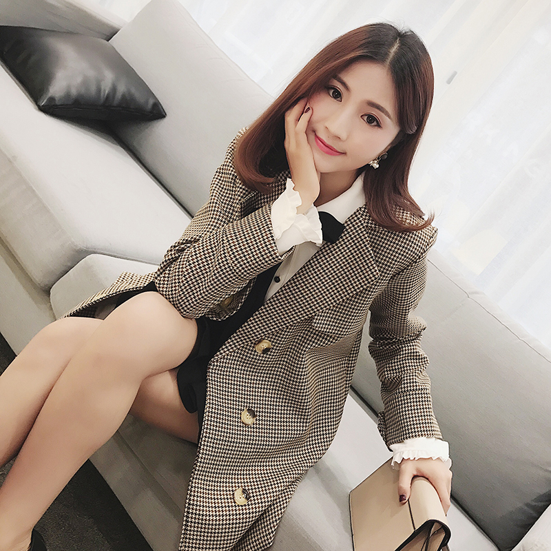 Spring new small fragrant wind double breasted jacket plaid suit jacket female Korean version
