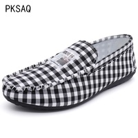 2019 Spring Summer New Men Lazy Single Shoes Casual Round Head Plaid Canvas Shoes Breathable Comfort Low Help Peas Shoes