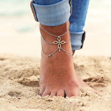 5071 2015 New Vintage Boho Silver Color Tassel ChineseKnot Pendant MultiLayer Chain Link Anklet Bracelet Foot Jewelry For Women