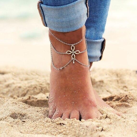 5071 New Vintage Boho Silver Color Tassel ChineseKnot Pendant MultiLayer Chain Link Anklet Bracelet Foot font