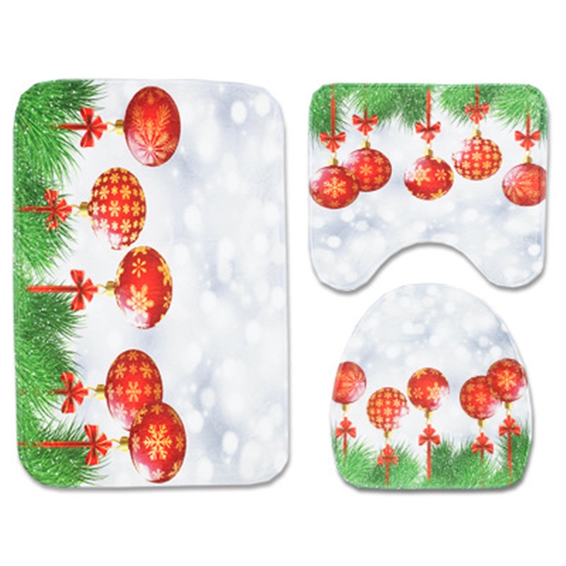 Christmas Style U-shaped Toilet Cushions And Floor Mats 3 pcs/set Super Soft Mat Toilet Accessories Decoration Home Bathroom Rug