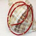 Exquisito 2*6mm tubo de cuentas de coral rojo natural encantos strand pulsera para mujeres niñas brazalete de regalo de la manera diy 13 inch de la joyería B3004