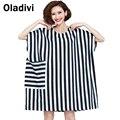 Extra de gran tamaño más el tamaño de ropa de moda de rayas mujeres dress casual camisa floja de la blusa femme vestido dress casual vestidos blusas