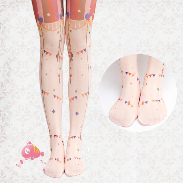 Princesa dulce pantimedias lolita medias de terciopelo Original compañía de circo Alice parque de atracciones impreso pantimedias lolita medias