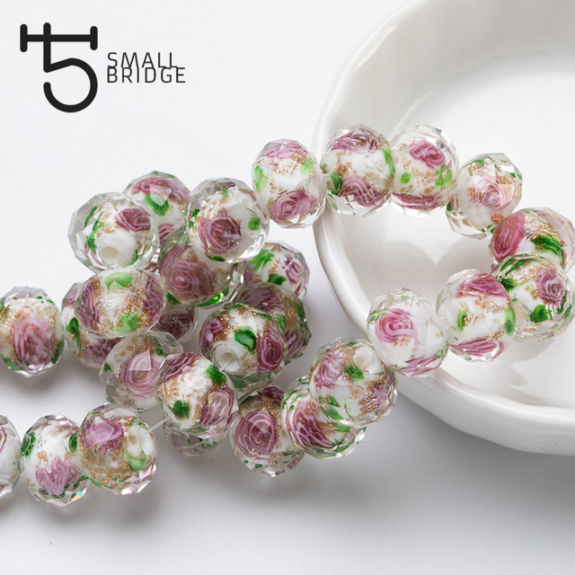 12mm Large Murano Transparent Glass Lampwork Beads for Jewelry Making Women Diy Bracelet Flower Rondelle Faceted Beads L002 5