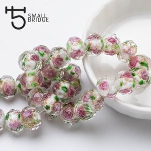12 мм большие муранские прозрачные стеклянные бусины-фонарики для изготовления ювелирных изделий для женщин Diy браслет цветок Rondelle граненые бусины L002