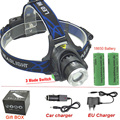 led Headlight 18650 Headlamp waterproof Head lamp T6 2000LM rechargeable light +2x18650 battery +Charger