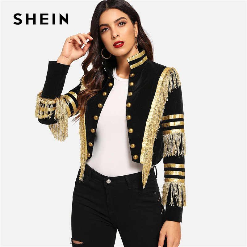 SHEIN Bayan Saçak Yamalı Metalik Kruvaze Şerit Siyah Gotik Ceket Kadın Sonbahar Standı Yaka Kırpılmış Ceket