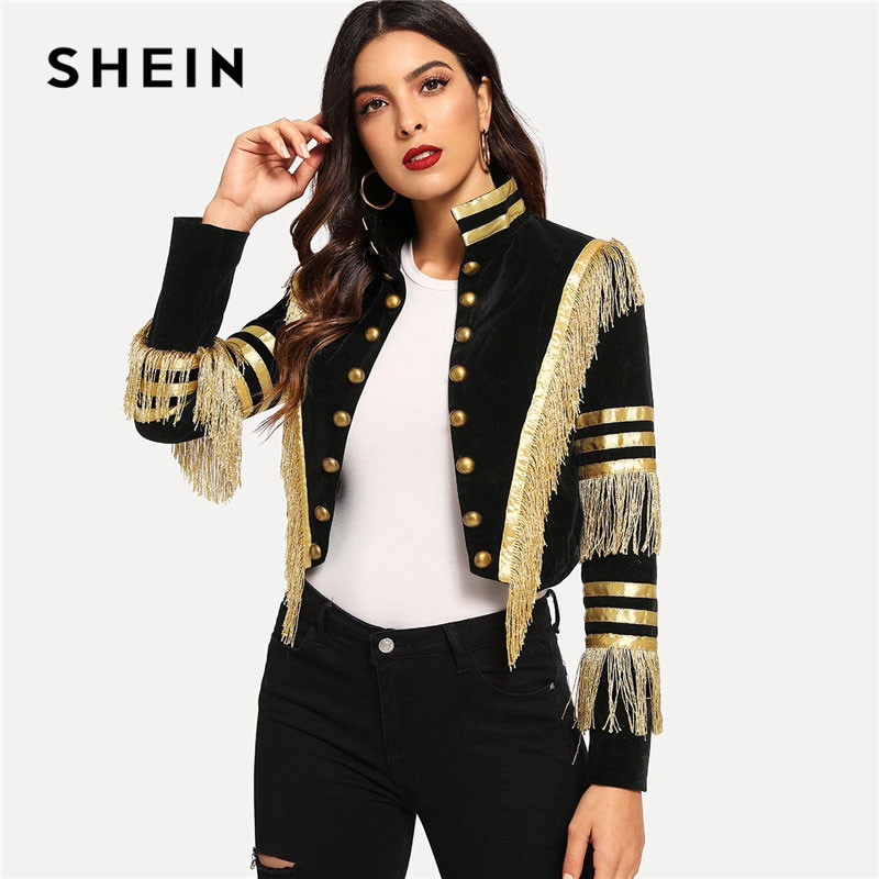 SHEIN Lady Fringe Patched Metallic Double Breasted Stripe Black Gothic Jacket Women Autumn Stand Collar Cropped Jacket
