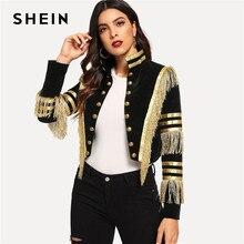SHEIN 女性フリンジ適用メタリックダブルブレストストライプ黒ゴシックジャケット女性秋のスタンドカラークロップドジャケット