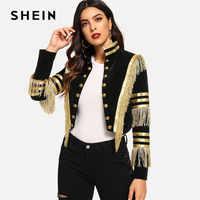 Shein senhora franja remendado metálico duplo breasted stripe preto gótico jaqueta feminina outono gola cortada jaqueta