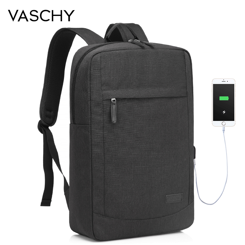 VASCHY Anti-thief 17In Laptop Backpack With USB Charging Port Lightweight Slim Business Computer Rucksack With Waterproof Cover