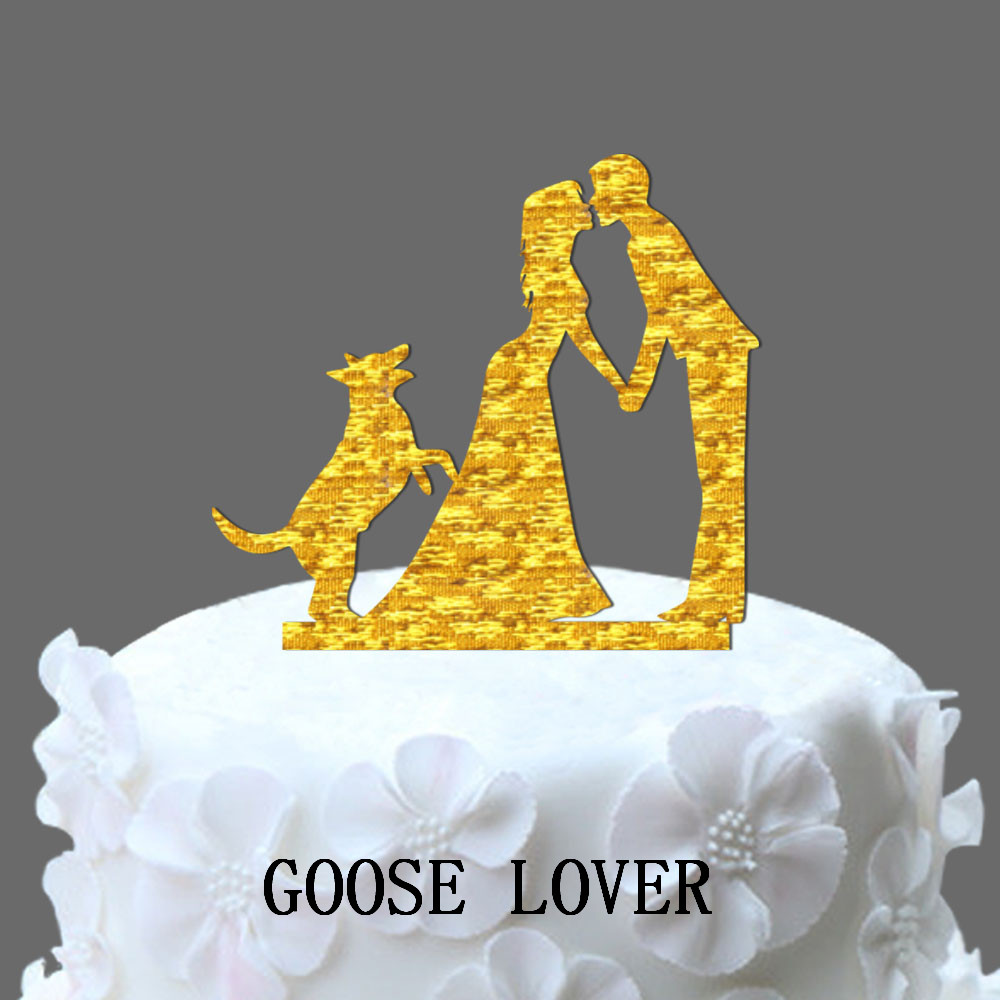 Silhouette Wedding Cake Topper With Dog, Acrylic Vintage Cake Topper ...