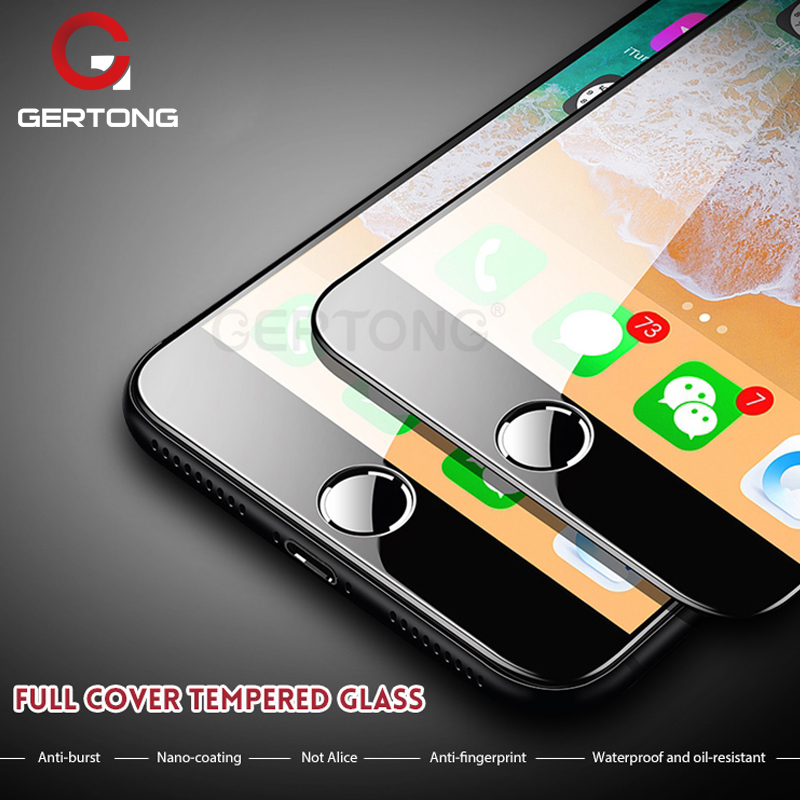 GerTong 5D Tempered Glass for iPhone 7 Glass 6 6S 8 Plus X Full Cover Screen Protector for iPhone 6 S Glass Curved Edge Film