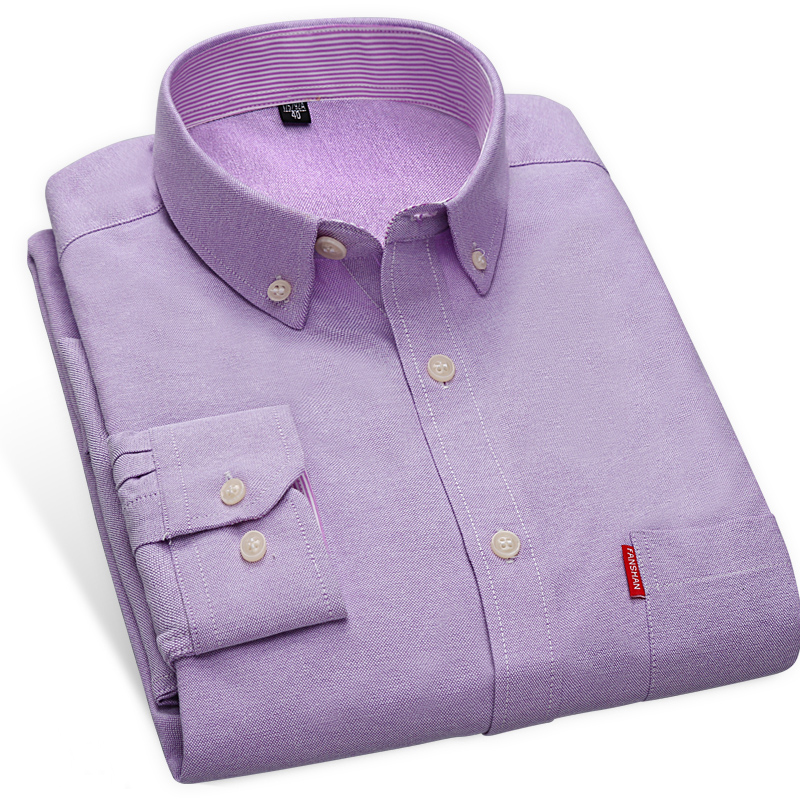 Men 39 s solid color oxford no iron casual shirts striped in for Men s no iron dress shirts