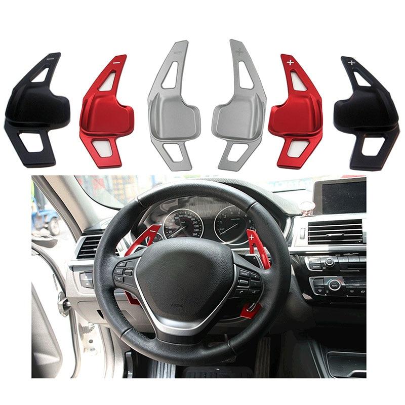 Pair Aluminum Steering Wheel Gear Shift For BMW 3Series 5 Series Universal Black