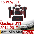 Para Nissan Qashqai J11 2014 2015 2016 Anti-Slip de Borracha Copo almofada Esteira de Porta 15 Pcs Desonestos Esporte Acessórios Do Carro Styling adesivo