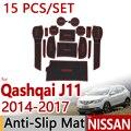 for Nissan Qashqai J11 2014 2015 2016 Anti-Slip Rubber Cup Cushion Door Mat 15 Pcs Rogue Sport Accessories Car Styling Sticker
