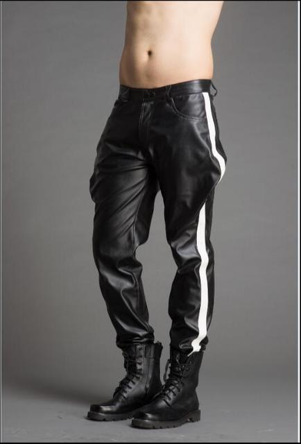 High-end custom-made men's color pantaloons leather pants fashion personality.      29-37!! 2