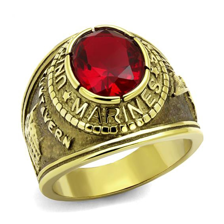 American Military Marines Ring Hot Men Unisex New Design Goldcolor Siam  Red Color Main