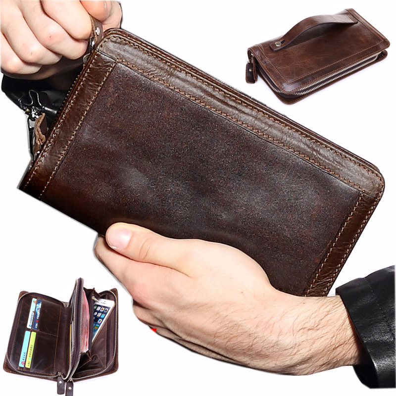 Brand Men Wallets Genuine Leather Coin double Zipper Pocket Men's cow leather...