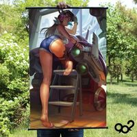 Home Decor Poster Wall Scroll Painting Japan Anime Overwatch D.va Hip