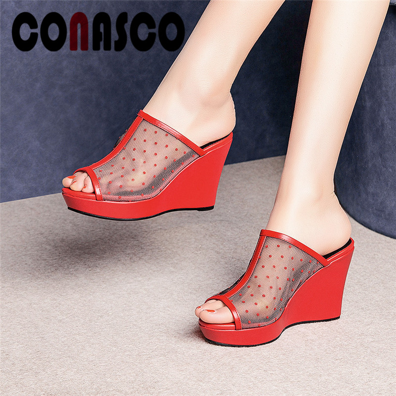 Women's Shoes Conasco Breathable Mesh Comfortable Slippers For Women Genuine Leaether High Heels Summer Elegant Wedge Sandals Shoes Woman Heels
