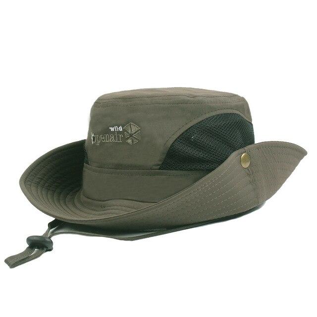 7800e8c1c8f Spring Summer Wide Brim Sun Anti-UV Hats Men Women Mesh Fishing Angler Hats  Outdoor