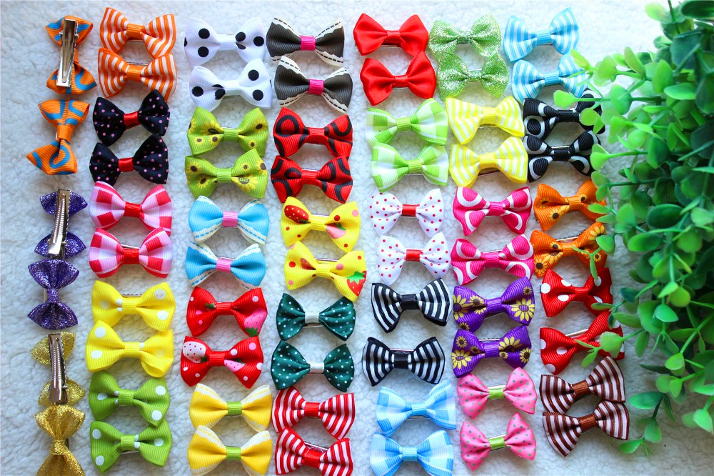 On Sale!100pcs/lot Pet Dog Hair Clips Diffence Bowknote Style 4CM Mix Colors Accessories Pet Grooming Products
