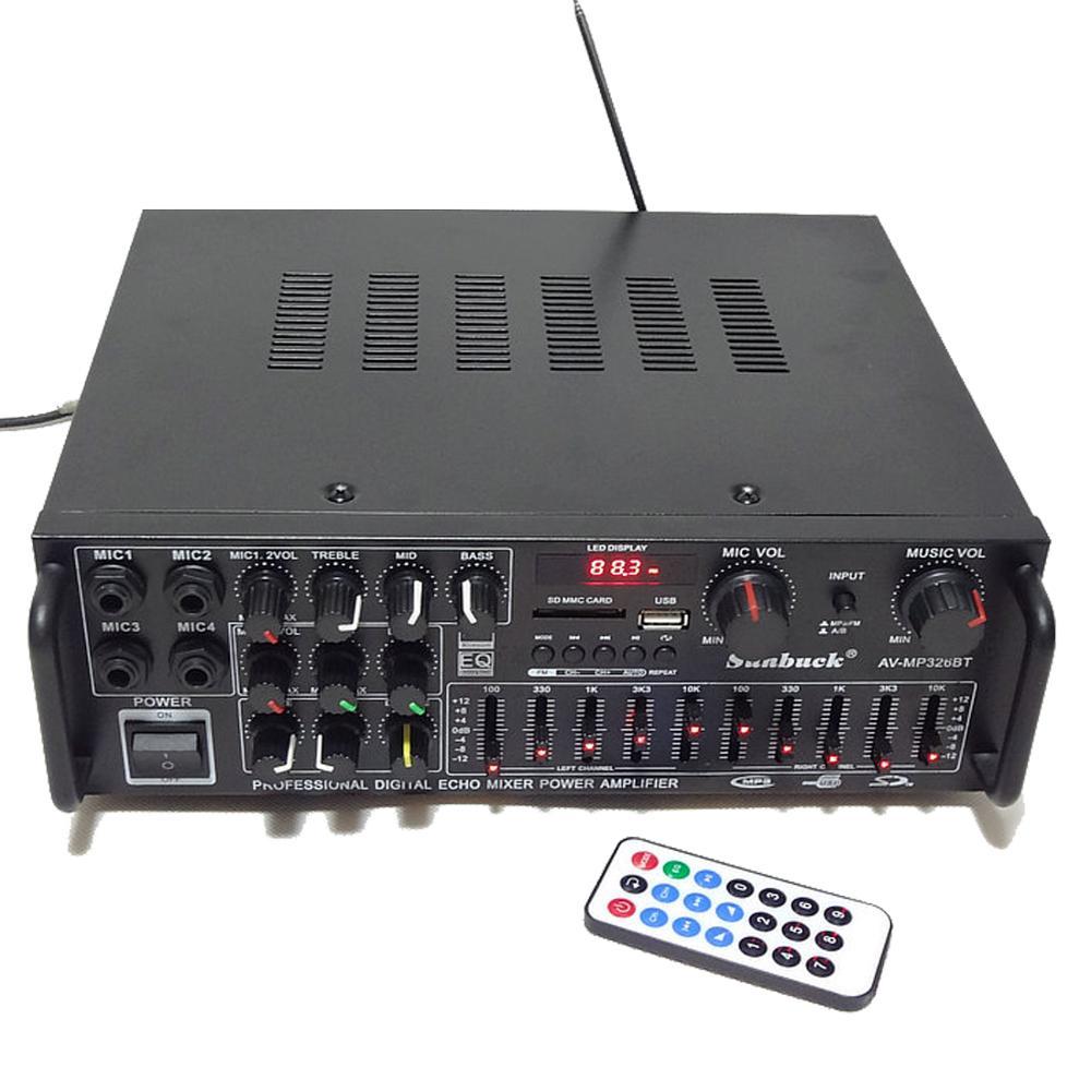 110V 220V 12V 2.1 canal 200W haute puissance Bluetooth FM USB MP3 karaoké amplificateur 10 segments égaliseur famille voiture amplificateur audio - 2
