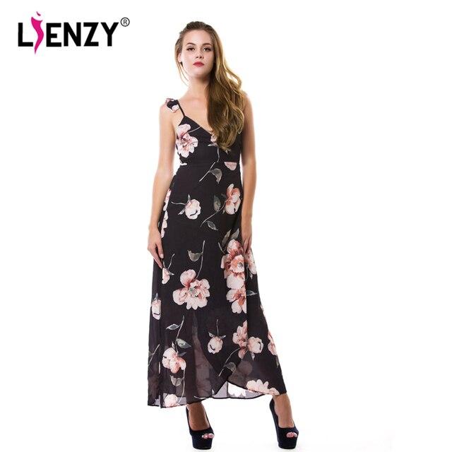 LIENZY 2016 Lente Elegante Vrouwen Lange Jurk Halter Backless Sexy Diepe V-hals Bloemen Side Split Floor Lengte Maxi Jurk