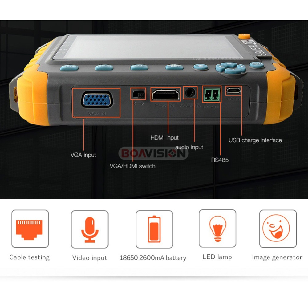 1080 P 4 en 1 TVI AHD CVI analógico CCTV cámara de 5 pulgadas TFT LCD construir en la batería de seguridad probador de Monitor de Audio y Video de prueba - 4