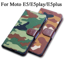 Army Camouflage Leather Phone Case for Lenovo Motorola Moto E5 Plus Play Flip Wallet Cover fundas bag E5play E5plus