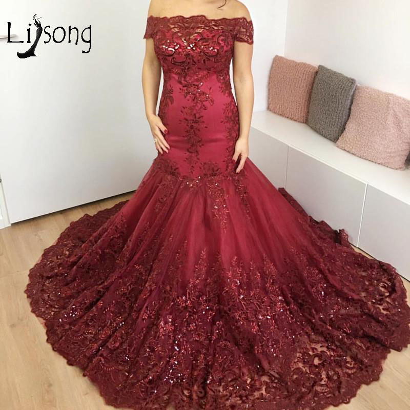 Saudi Arabic Burgundy Lace Mermaid Prom Dresses Abiye Long Crystal Beaded Prom Gowns Off Shoulder Vestido