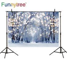 Funnytree fundo para photo studio floresta do inverno do natal glitter decoração neve natureza cenário fotografia photocall