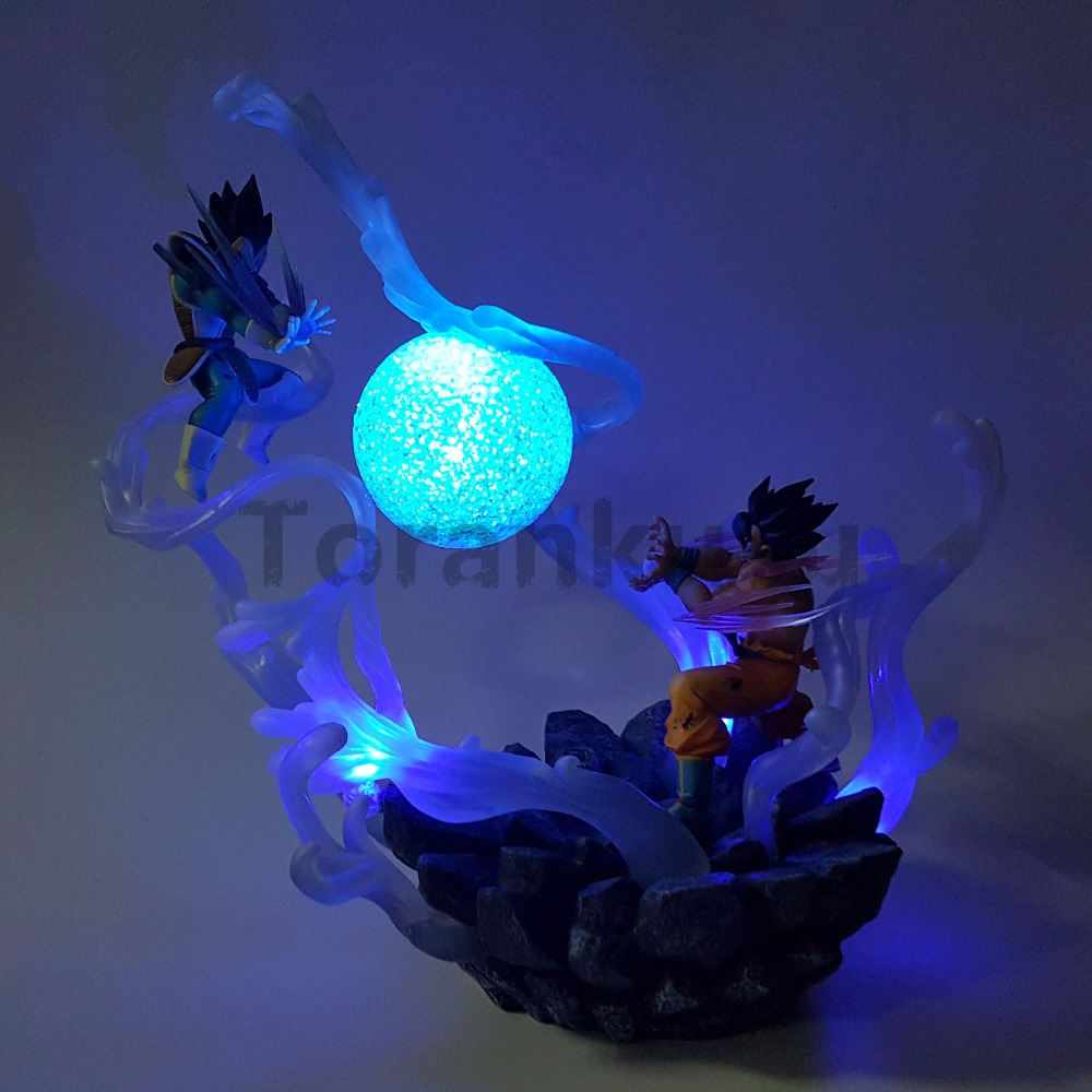 все цены на Dragon Ball Z Son Goku VS Vegeta Action Figure Super Saiyan DIY Led Scene Anime Dragon Ball Z DBZ Collection Model Toy Son Goku
