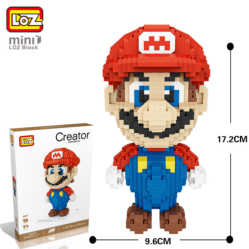 LOZ Diamond Blocks Mario Action Figure Mermaid DIY Building Educational Block Toys for Kid Gift Bricks 9040 loz diamond blocks figuras classic anime figures toys captain football player blocks i block fun toys ideas nano bricks 9548