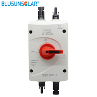 High performance 4 Pole 1200V DC 32Amp Solar Electrical DC Sw'ti'ch Isolator Switch with 2 pairs MC4 Connectors