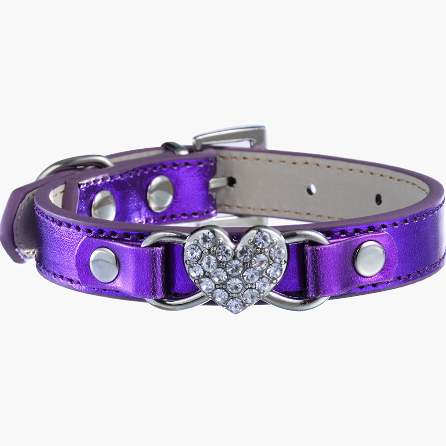 chihuahua collars ldc012 chihuahua dog leather collar rhinestones heart for 3709