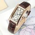 2017 mujeres elegante reloj rectangular dial banda de cuero marrón dama de negocios relojes chenxi reloj de las mujeres